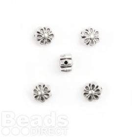 Antique Silver Flower Charm Beads Pack 5 7mm