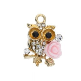 Glamm ™ Owl / pendant charms / with cubic zirconia / 21x15x5.5mm / gold plated / pink-crystal / 1pcs