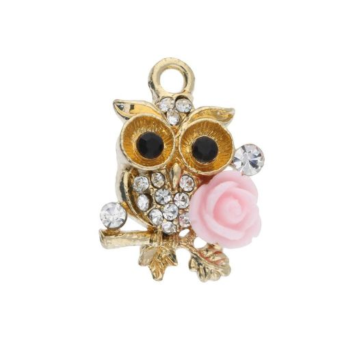 Glamm ™ Owl / charm pendant / with zircons / 21x15x5.5mm / gold plated / pink-crystal / 1pcs