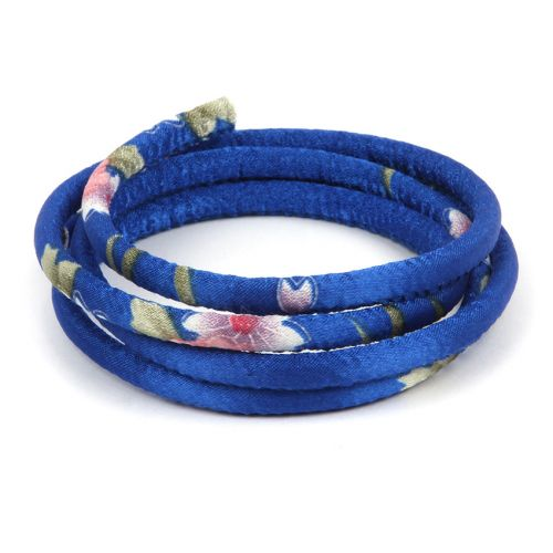 Blue Floral Fabric Round Cord 6.5mm 1metre