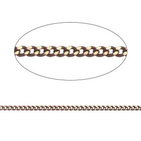 Brown/Gold Plated Brass Thin Curb Chain 1.45x1.8mm 1metre