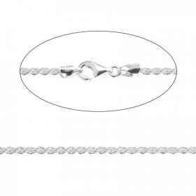 Sterling Silver 925 2mm Rope Chain Necklace with Clasp 18""