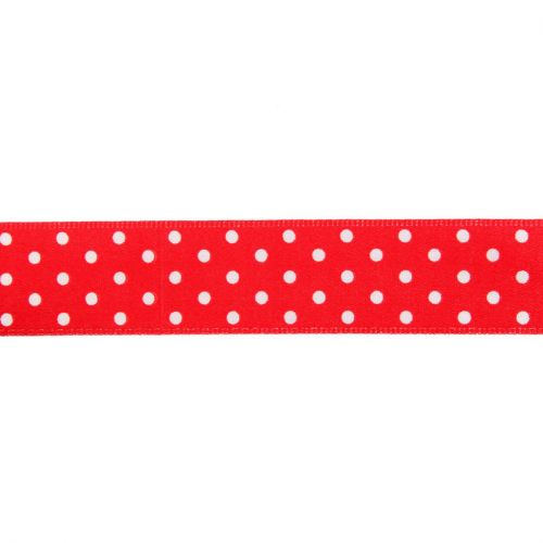 Red and White Dotty Print Fancy Ribbon 22mm Pre Cut 1m Length