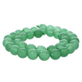 Agate / faceted round / 10mm / green / 35pcs