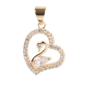 Gold Plated Swan in Heart Charm w/Bail & Zircon Crystals 15mm Pk1
