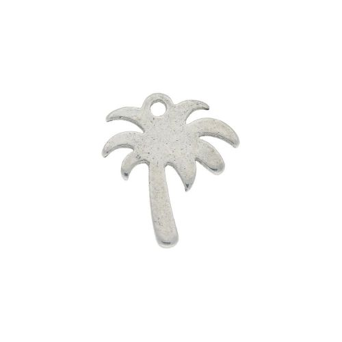 Palm tree / charm / surgical steel / 11x10mm / silver / 4pcs