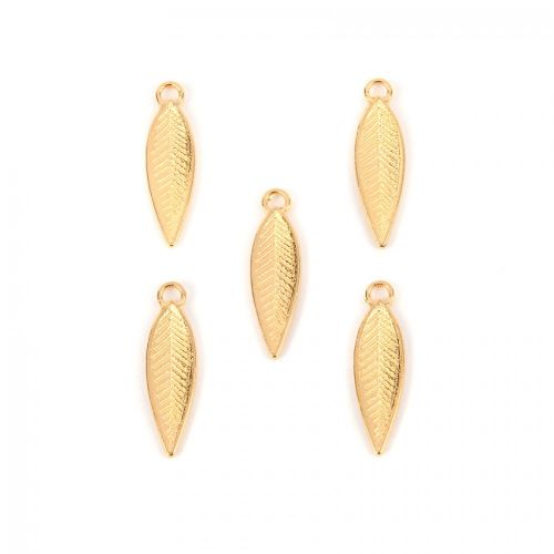 Gold Plated Zamak Feather/Leaf Charms 17x6mm Pack of 5