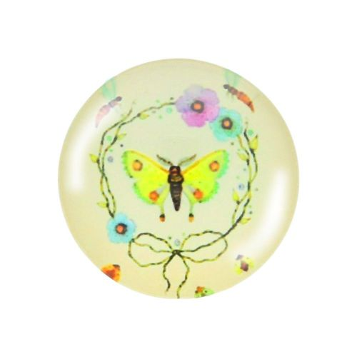 Glass cabochon with graphics K20 PT1220 / cream-green / 20mm / 2pcs