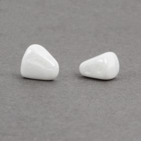 Opaque White Luster NIB-BIT Glass Beads 5mm x 6mm 10g