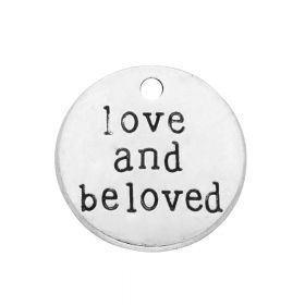 Love and beloved / charm pendant / 20x20x2mm / silver / 2pcs