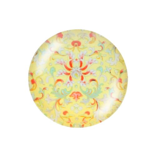 Glass cabochon with graphics K14 PT1351 / yellow / 14mm / 4pcs