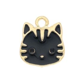 SweetCharm ™ Cat / charms pendant / with crystals / 15x13.5mm / gold plated / black / 2pcs