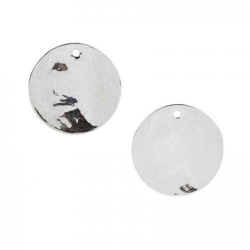 Titanium Plated Hammered Coin Charm 20mm Pk2