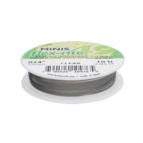 BEADSMITH® / Flex-Rite® 49 wire / surgical steel / .014inch / Crystal / 3m