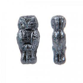 Gunmetal Preciosa Czech Glass Owl Beads 7x15mm Pk20