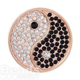 KB Rose Gold Plated Yin and Yang Crystal Coin Disk for Interchangeable Locket 32mm Pk1