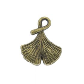 Ginkgo leaf / charm pendant / 16x13mm / antique bronze / 4pcs