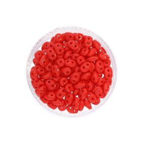 SuperDuo™ / glass beads / 2.5x5mm / Opaque / Red / 10g / ~140pcs