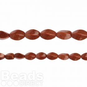 "Brown Goldstone Twisted Oval Beads 8x16mm 15"" Strand"