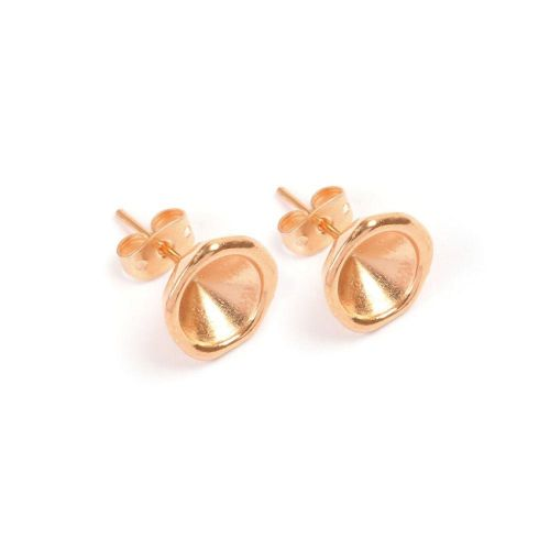X Rose Gold Plated Zamak Earring Cup for SS39(8mm) Chatons 11.5mm with Backs 1xPair