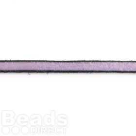 Light Purple Flat Leather with Black Edge 5x2mm Pre Cut 1 metre Length
