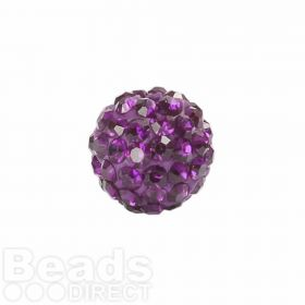 Dark Amethyst Crystal 10mm Premium Shamballa Fashion Round Pk1