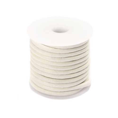 White Round Leather 2mm Cord 5 Metre Reel