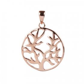 Rose Gold Plated Sterling Silver 925 Tree of Life Charm 18mm Pk1