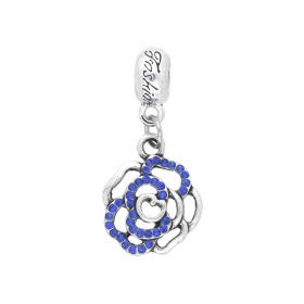 Glamm ™ Rose / charm pendant / with zircons / 32x15x3mm / silver plated / sapphire / 1pcs