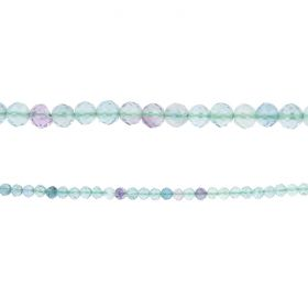 "Fluorite Semi Precious Faceted Round Beads 3mm 15"" Strand"