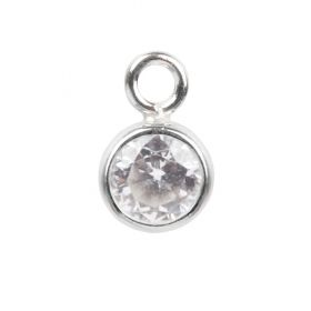 Sterling Silver 925 Crystal Clear CZ April Birthstone Charm 5mm Pk1