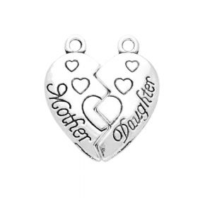 Mother Daughter / heart / charm pendant / 24x21x2.5mm / silver / 1pcs