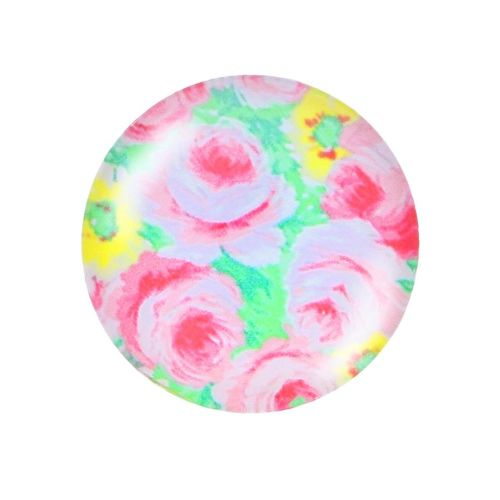 Glass cabochon with graphics K25 PT1307 / pink-green / 25mm / 2pcs