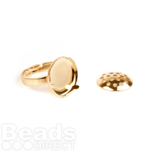 Gold Plated Small Sieve Disk and Adjustable Ring Base 15mm Pk1