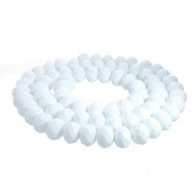 Milly™ / rondelle / 9x12mm / white / 70pcs