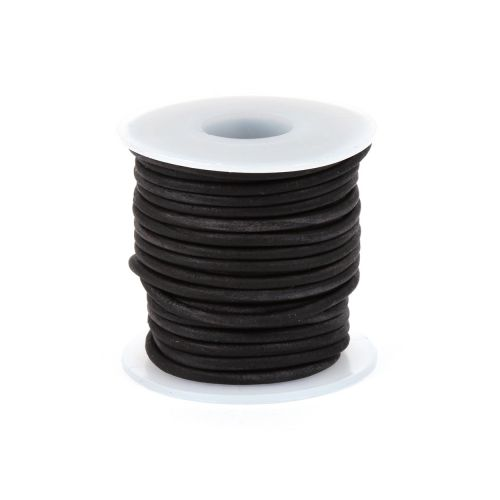 Antique Black Dyed Matte Finish 1.5mm Leather Cord 5metres