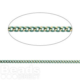 Mint Green/Gold Plated Brass Thin Curb Chain 1.45x1.8mm 1metre