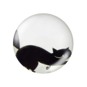 Glass cabochon with graphics 12mm PT1540 / black and white / 4pcs