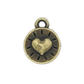 Heart / charm pendant / 10x8x3mm / antique bronze / 10pcs