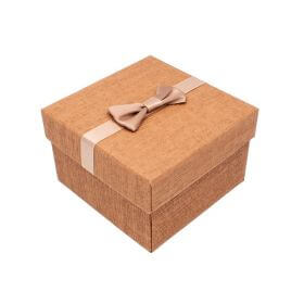 Gift box / bow and pillow / 9x9x6cm / bronze / 1pcs