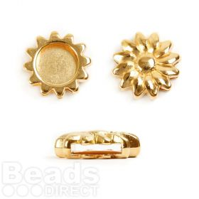 Gold Plated Zamak Sunflower Slider Charm Bead 20mm Pk1