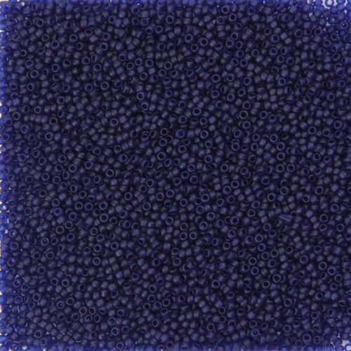 X- Toho Size 15 Round Seed Beads Transparent Frosted Cobalt 10g