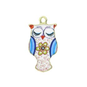 SweetCharm™ owl / charm pendant / 23x12x2.5mm / KC gold-mulitcolour / 2pcs
