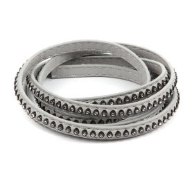 Grey Large Crystal Faux Leather Flat Cord 6mm Pre Cut 1metre