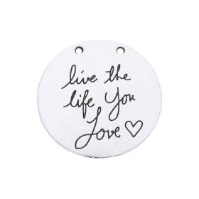 Live the life you love / charm / 30x30x30mm / silver / 1pcs