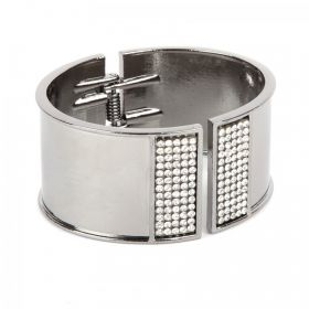 Gunmetal Plated Bangle Cuff Base with Crystals 50x60mm with diameter cord space-28mm Pk1