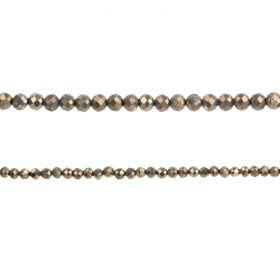 "Pyrite Semi Precious Faceted Round Beads 2mm 15"" Strand"