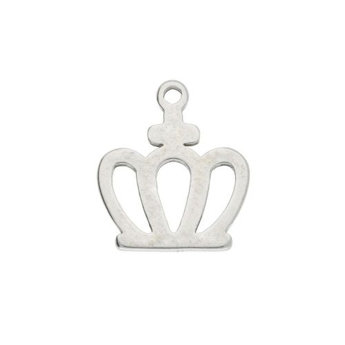 Crown / charm / surgical steel / 11x10mm / silver / 2pcs