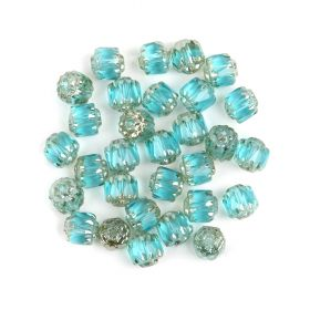 Preciosa Pressed Cathedral Beads Turquoise/Silver 6mm Pk30