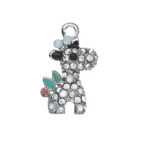 Glamm ™ Giraffe / charm pendant / with zircons / 21x13x4mm / silver plated /  Crystal / 1pcs